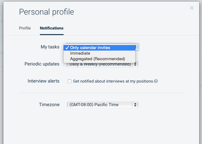 Setting email notification preferences