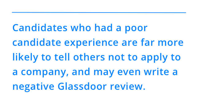 Candidates who had a poor candidate experience are far more likely to tell others not to apply to a company, and may even write a negative Glassdoor review.