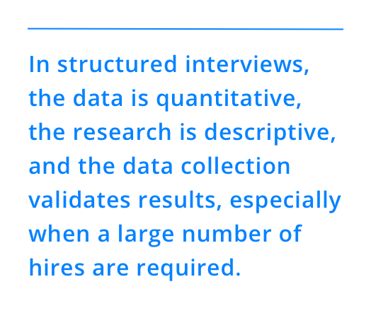 In structured interviews, the data is quantitative, the research is descriptive, and the data collection validates results, especially when a large number of hires are required.