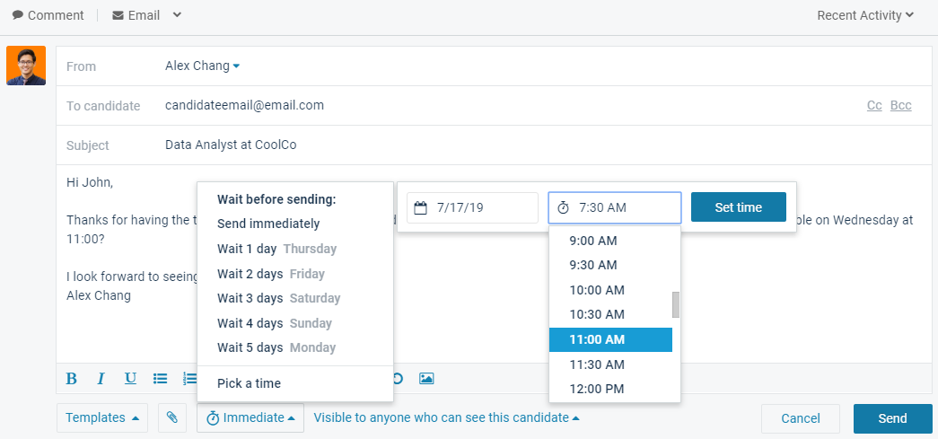 How to schedule exact time to send email in Comeet