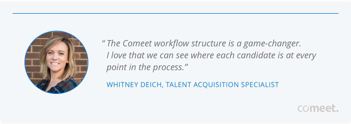 The Comeet workflow structure is a game-changer.I love that we can see where each candidate is at every point in the process.